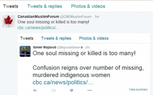 tweet on missing indigenous women
