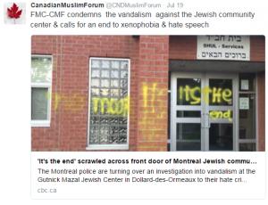 CMF tweet on Vandalism against jewish community center
