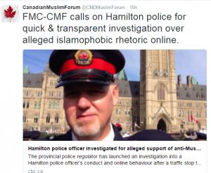 Tweet on Hamilton police